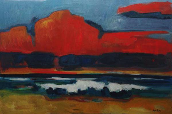"""Kai Quedens (*1965), """"nuurdsiainj (Nordseeabend)"""", 2012, Eitempera auf Leinwand, ca. 80 x 120 cm, signiert"""