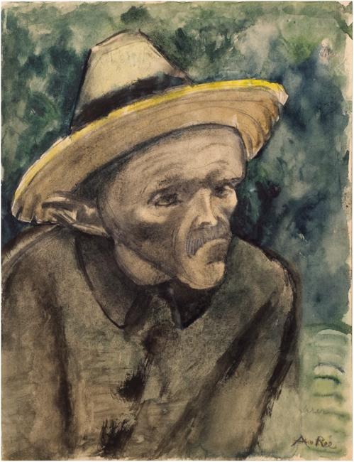 """Anita Rée (1895-1933), """"Irrer"""", 1916, Aquarell, Kohle, Bleistift, 34x26 cm, signiert, betitelt, Provenienz Privatsammlung Hamburg.  Die Arbeit wird von Dr. Maike Bruhns in das Werkverzeichnis der Arbeiten Anita Rées aufgenommen."""