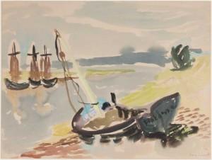 """""""Fischerhafen Finkenwerder"""" 1934 Aquarell u. Gouache, ca. 45,5 x 61,5, signiert, datiert, P. a. A."""