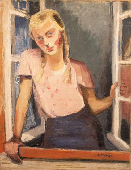 """Gretchen Wohlwill (1898-1962), """"Mädchen am Fenster"""", um 1930, Öl auf Leinwand, 93 x 70,5 cm, signiert"""