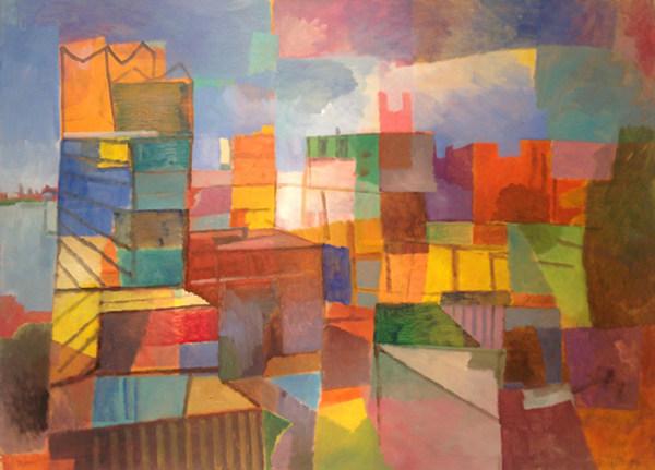 """""""Hafen City"""", 2014, Öl auf Papier, 50 x 70 cm"""