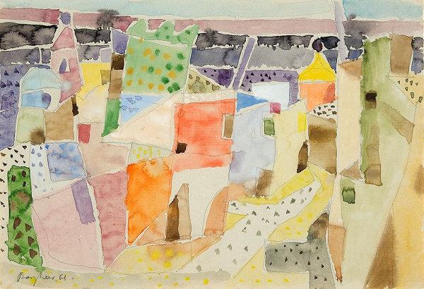 """""""Heller Morgen auf Ischia"""", 1961, Aquarell auf Bütten, ca. 22,5 x 32,5 cm, signiert, datiert, P. a. A."""