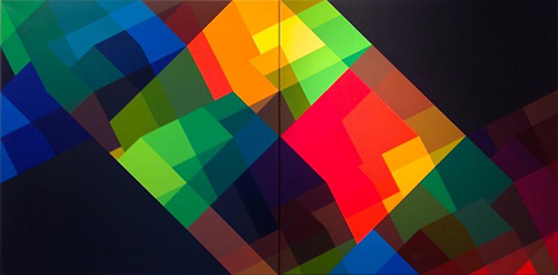 """diptychon v-2"", 1991, Acryl auf Leinwand, 100 x 200 cm"