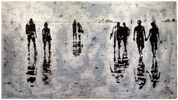 """""""Wattläufer"""", 2013, Mischtechnik, ca. 100 x 180 cm"""