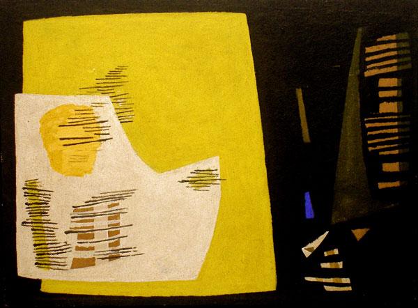 """Hans-Hermann Steffens (1911-2004), """"Das gelbe Feld"""", 1953, Mischtechnik auf Hartfaser, ca. 56 x 76 cm,  ausgestellt: Märkisches Museum, Witten, 1958"""