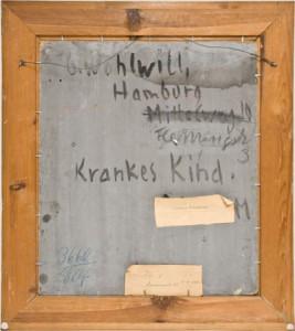 """Gretchen Wohlwill (1878-1962) """"Krankes Kind"""", Porträt Hans- Emil Wohlwill, 1927/28 Oelgemälde auf festem Malkarton ca. 52 x 45 cm signiert unten rechts"""
