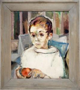 Gretchen Wohlwill (1878-1962) 'Krankes Kind', 1927/28 Öl auf festem Karton 52 x 45 cm signiert